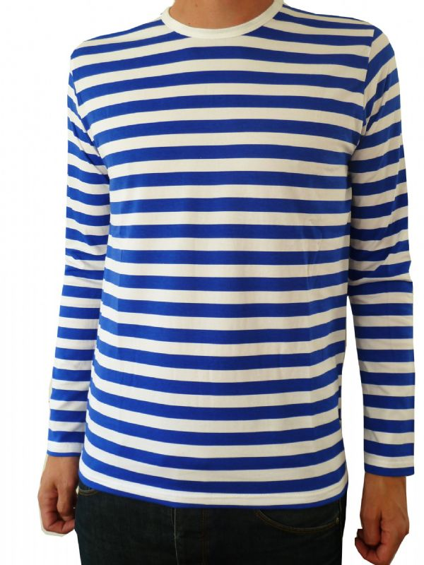 Mens Longsleeve Stripey Top (Blue & White)